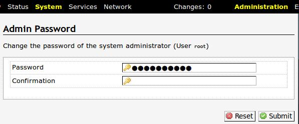 OpenWRT password Change