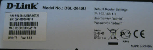 Этикетка модема 2640 d link