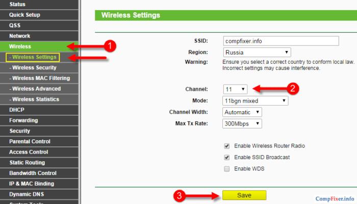 Выбор канала wifi на роутере tp-link