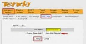 Роутер Tenda N301 вкладка MAC Clone