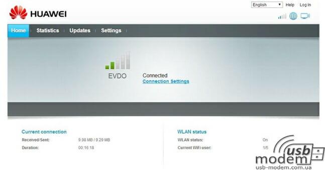 Главная страница настроек Huawei E355