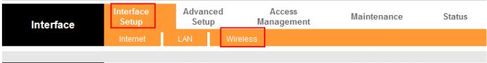 «Interface Setup» пункт «Wireless»