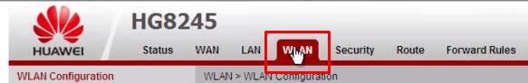 Переходим во вкладку WLAN на HuaWei
